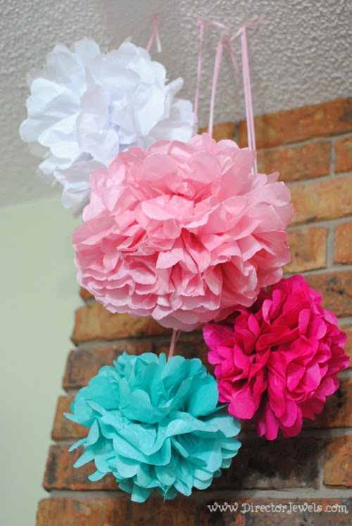 Tissue Paper Flower Puff Decorations. Disney Winnie the Pooh Birthday Tea Party Decorations and Theme for Toddlers. 2nd Birthday Party Ideas.