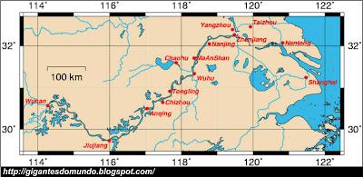 mapa Rio Yangtzé