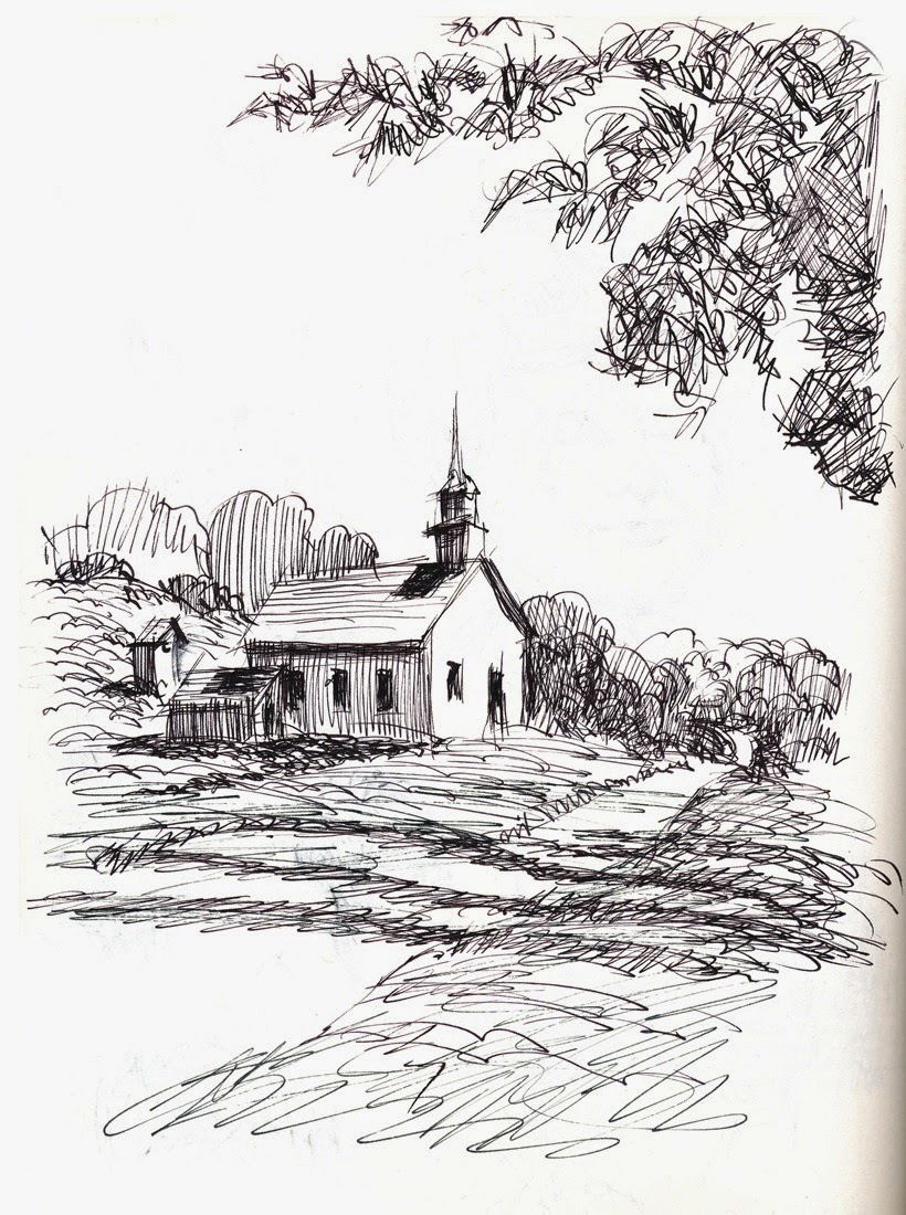 Sketch Of Country Church