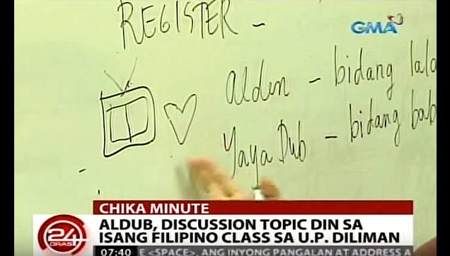 AlDub story used as a discussion topic in Filipino class at University of the Philippines