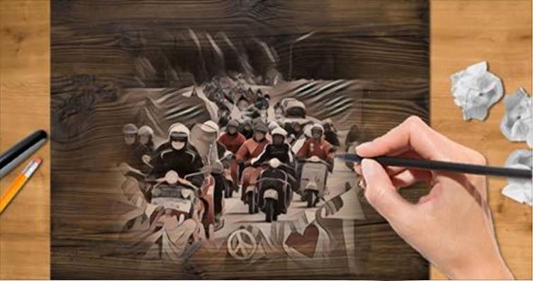 Un dipinto dedicato ai vespisti.