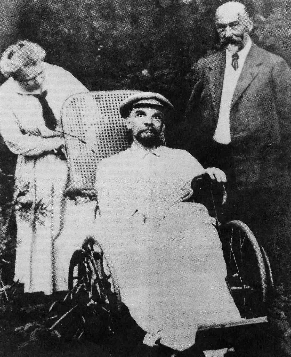 Vladimir Lenin's piercing stare while in a wheelchair, 1923.