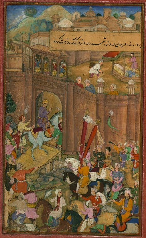 Islamic MS miniature of horse/rider procession into castle