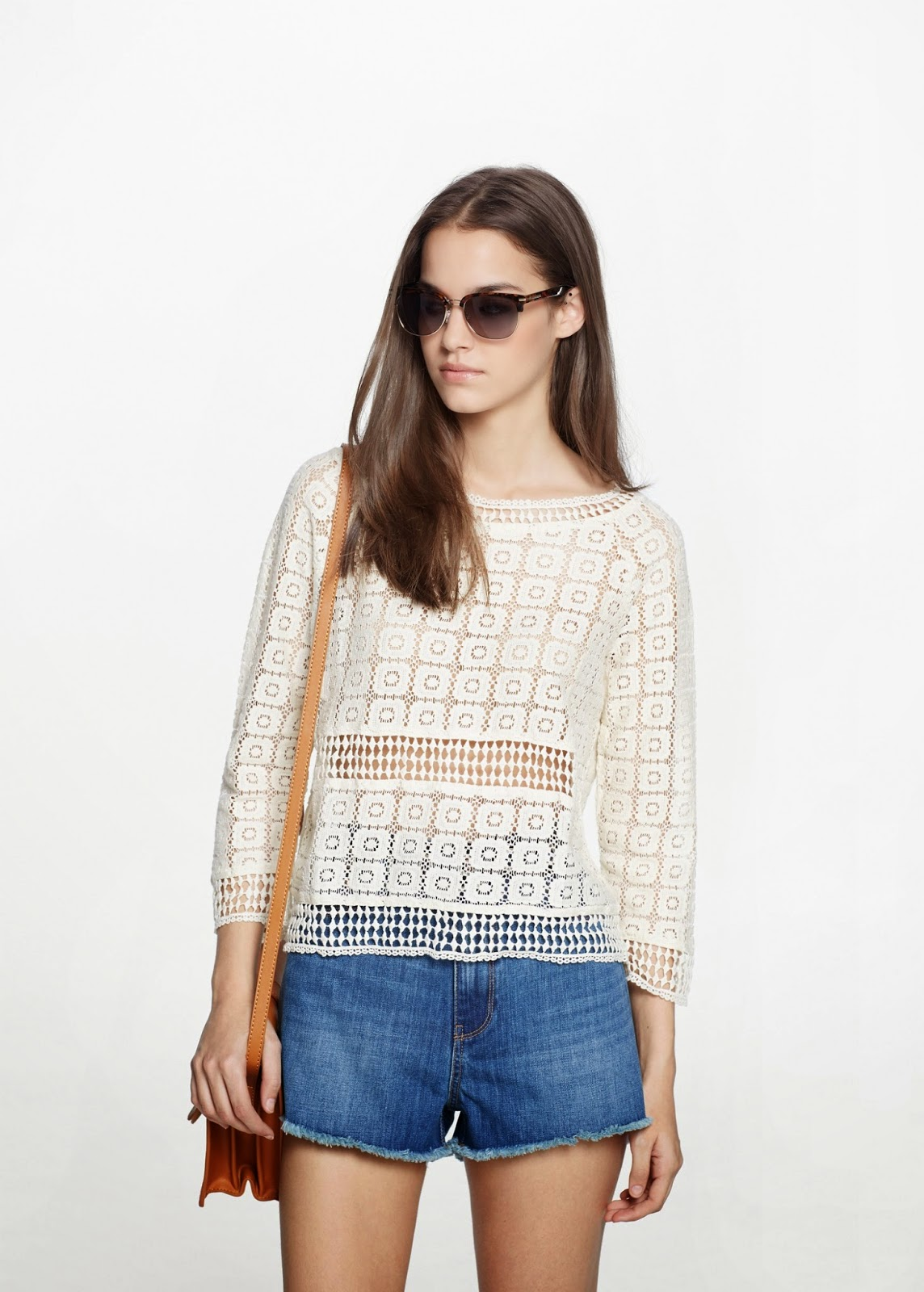 mango white crochet top