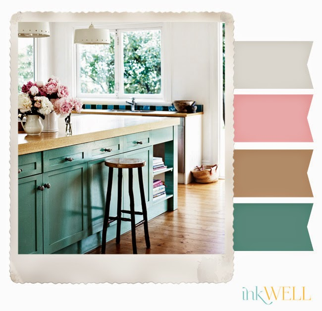 Image showing teal color combinations including pink brown and cream.