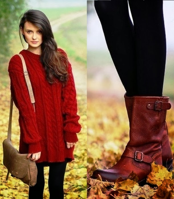 Gorgeous fall oversized red sweater and buckle boot combo