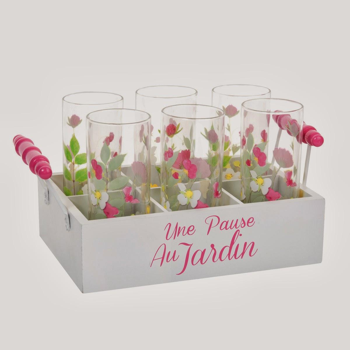 L 39 objet de la semaine le panier 6 verres floral by - Verres maison du monde ...