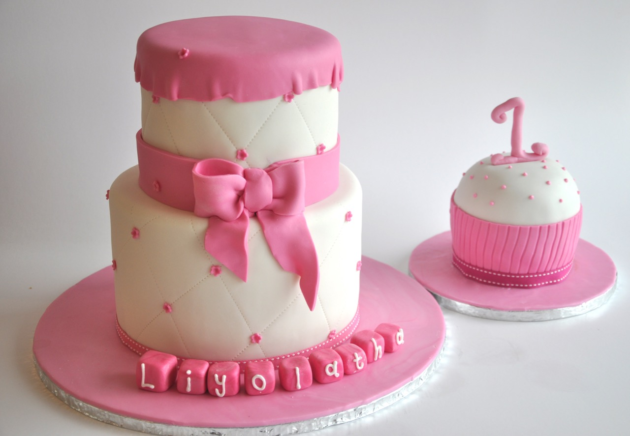 Rozannes Cakes Pink First Birthday Cakes