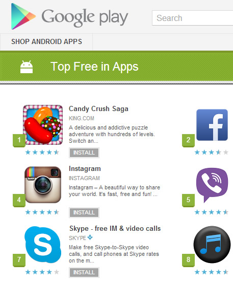 Top 10 Free Apps in Google Play - (May 2013) Top 10 Lists of