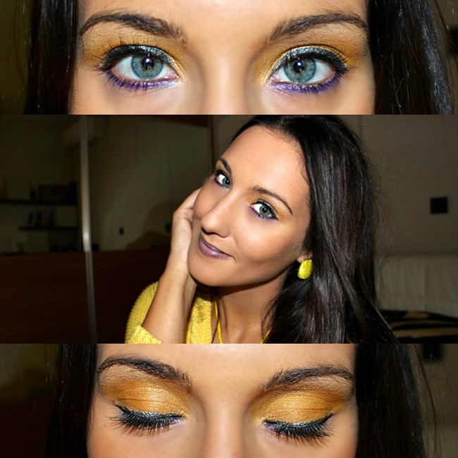 yellow and purple eye makeup by Jelena Zivanovic, makeup video tutorial. Yellow and purple, makeup color combination. Jelena Zivanovic Youtube channel. Fresh makeup ideas.
