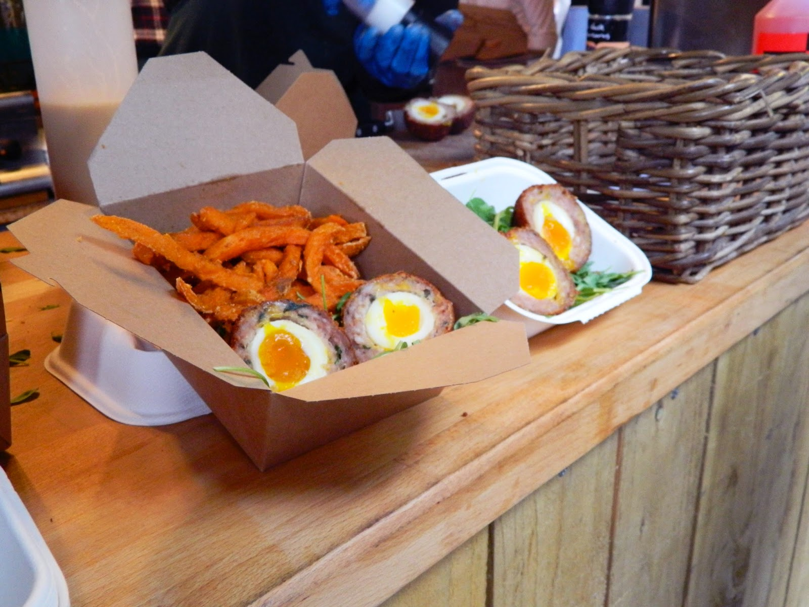 borough market food  lunch scotch egg sweet potato fires