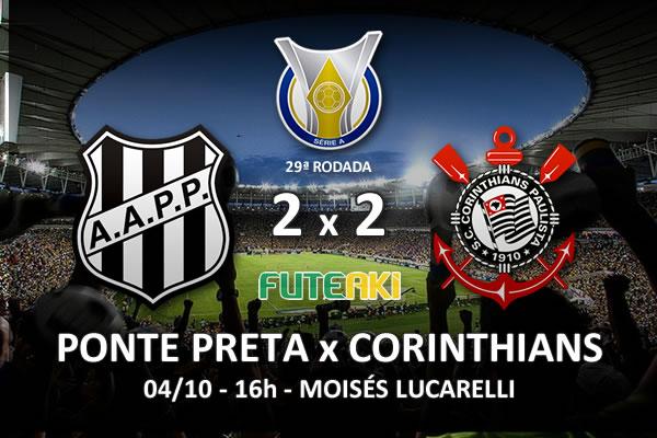 Veja o resumo da partida com os gols e os melhores momentos de Ponte Preta 2x2 Corinthians pela 29ª rodada do Brasileirão 2015.