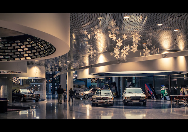 Entrance hall of the Mercedes-Benz museum, in December 2012