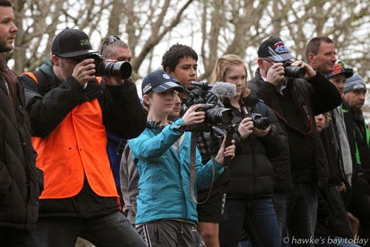 Keen photographers record the last stage of the Hawke's Bay Rally, at the Hawke's Bay Car Club, Bridge Pa, Hastings photograph