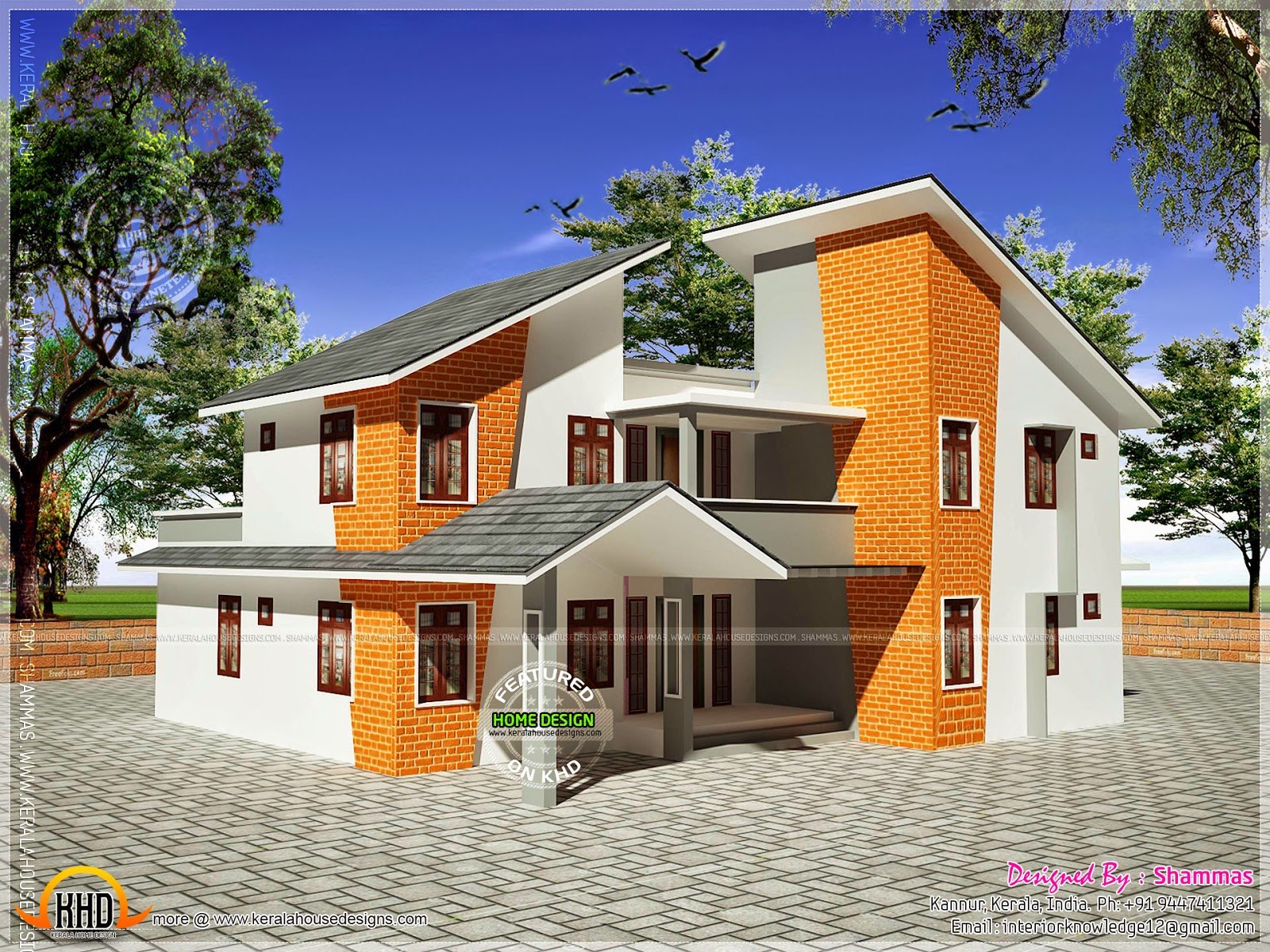 Modern house elevation with interior renderings kerala for Latest house elevation