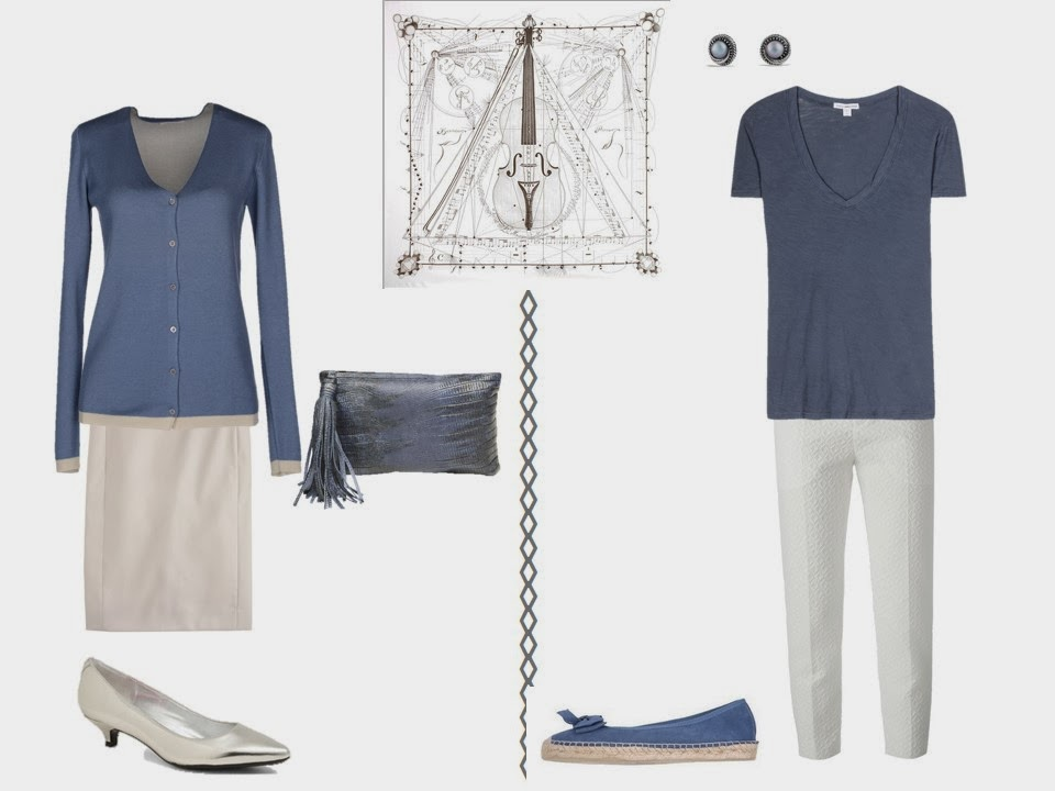 two outfits including slate blue to wear with Hermes Musique des Spheres