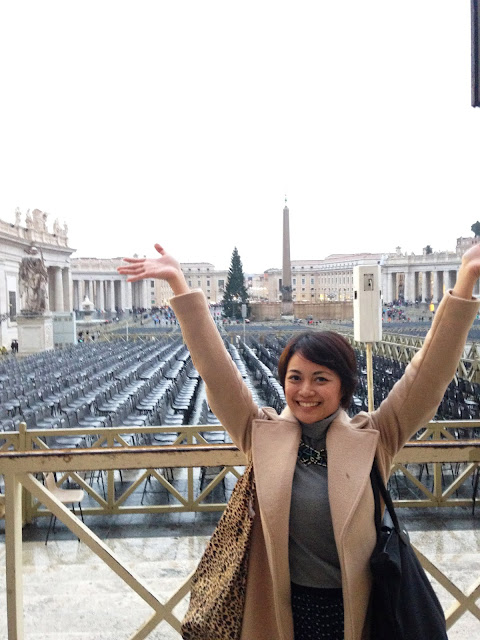 the Closet Catwalk, camel trench coat, St. Peter's Basilica, Vatican, Rome, Italy, Europe, Honeymoon