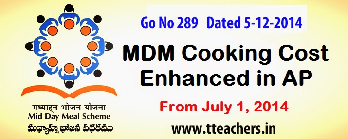 Go No 289 Mid Day Meal Scheme –Enhancement of cooking cost to Schools