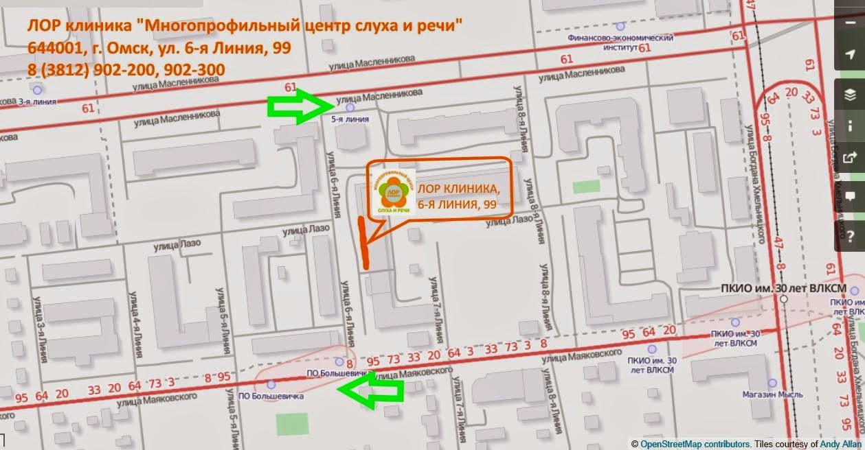 """Как проехать в Лор клинику """"Многопрофильный центр слуха и речи"""" в Омске"""