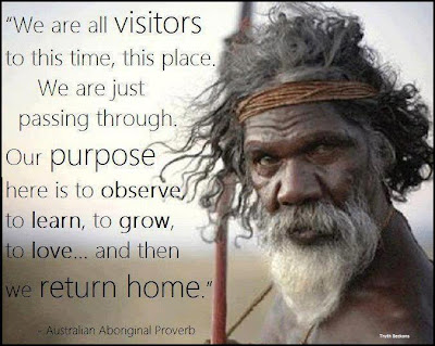 We are all visitors to this time, this place. We are just passing through. Our purpose here is to observe to learn, to grow, to love.. and then we return home.