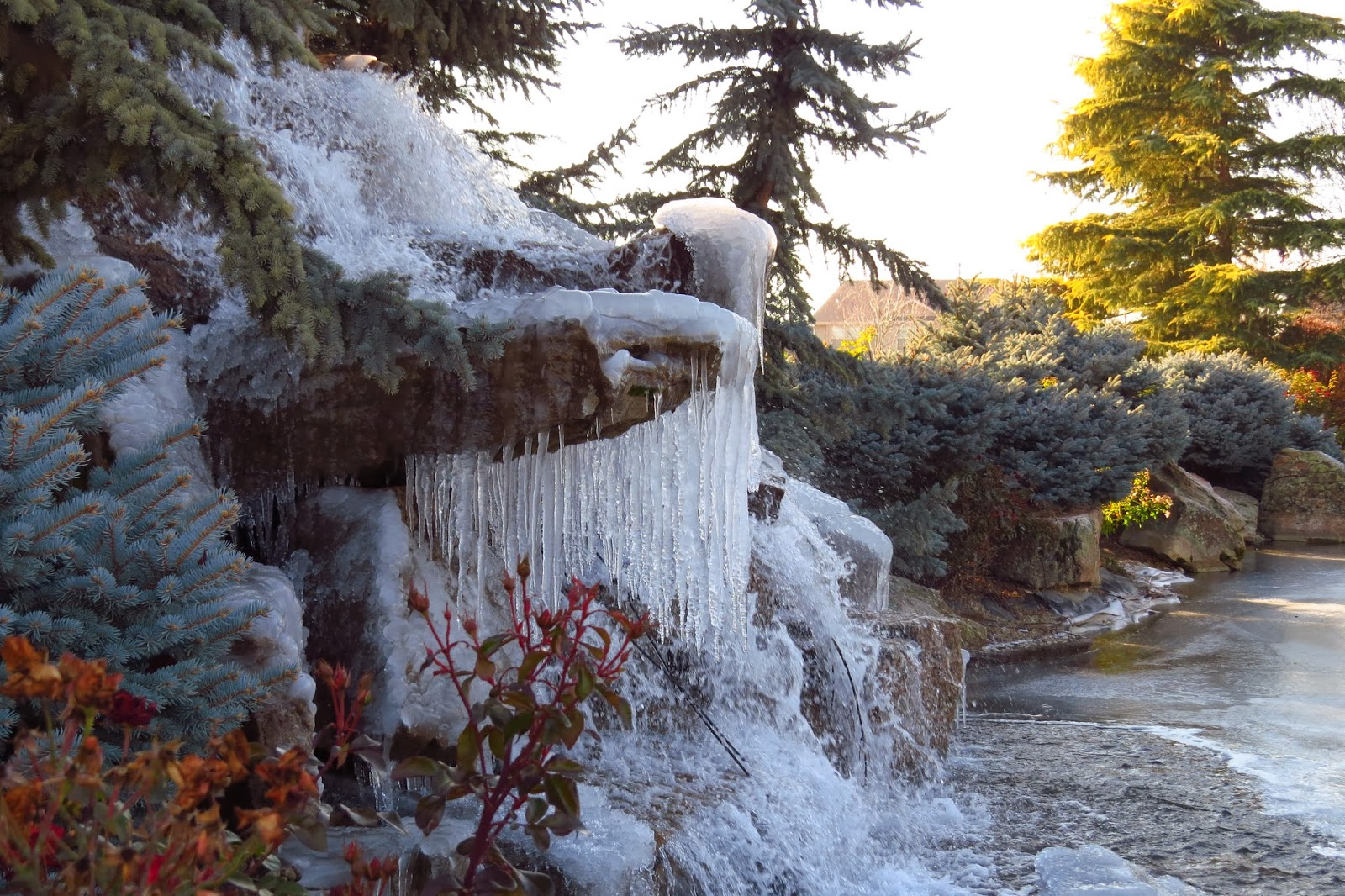 frozen waterfall, winter in Idaho