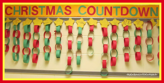 photo of: Christmas Countdown Chains on Bulletin Board (Christmas Bulletin Board RoundUP at RainbowsWithinReach)