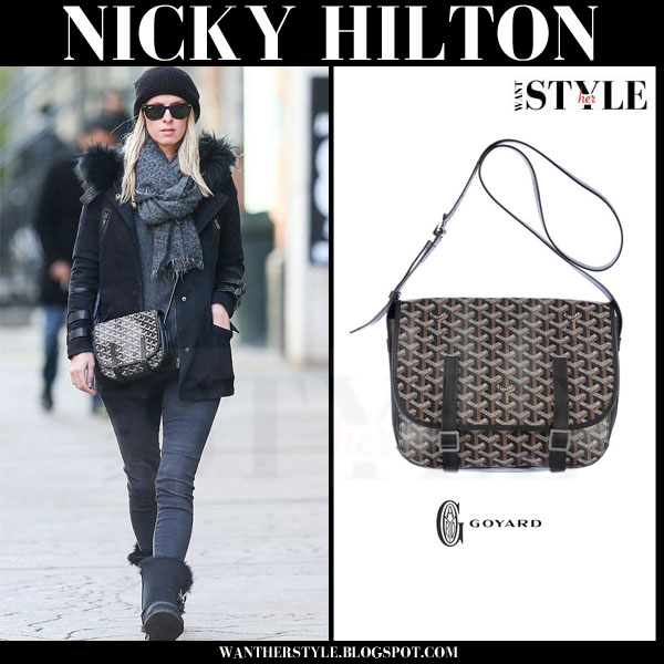 Nicky Hilton in black coat with canvas cross body bag goyard belvedere what she wore streetstyle