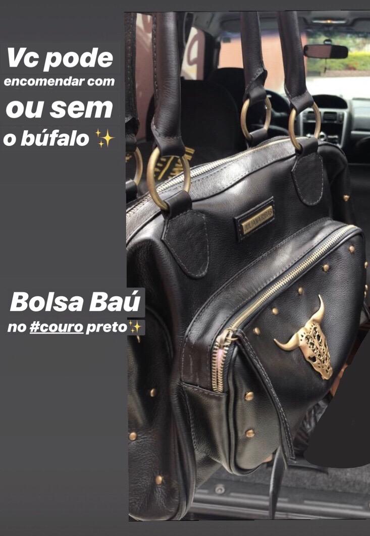 BOLSA BAÚ NO COURO PRETP COM BÚFALO (CÓDIGO: BS46)