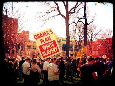Tea Party sign - 'Obama's plan - white slavery'