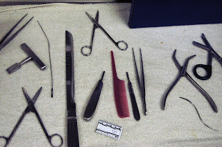 Some of the tools used for autopsies.