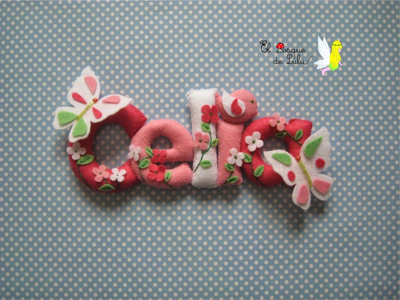 nombre-decorativo-fieltro-Celia-letrero-personalizado-flores-mariposas