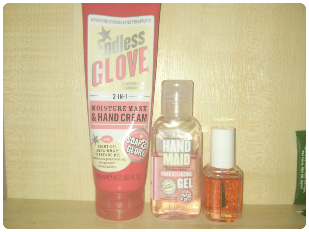 Soap and Glory Hand Glove, Essie apricot cuticle oil
