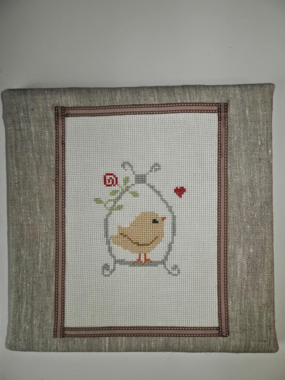 Coton et Création : point de croix oiseau en cage
