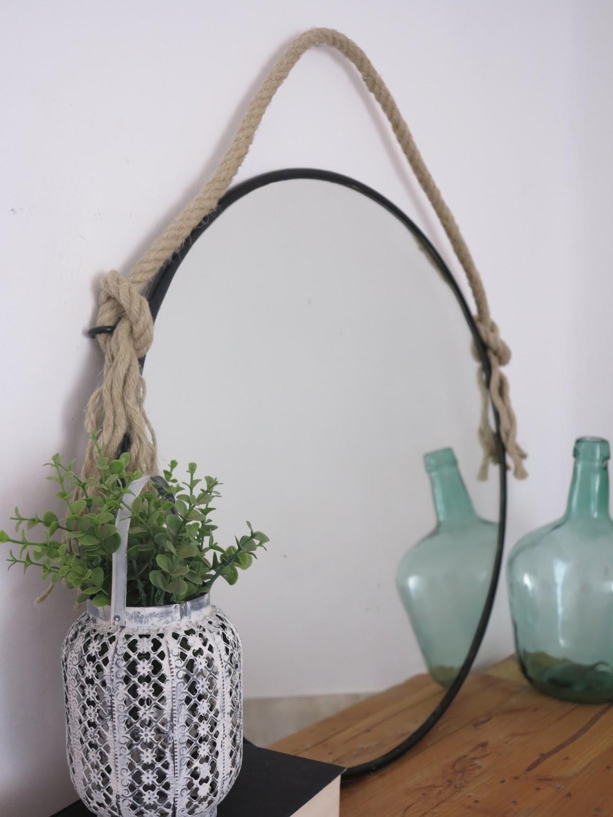 Diy espejo r stico negro con cuerda handbox craft for Espejos de entrada originales