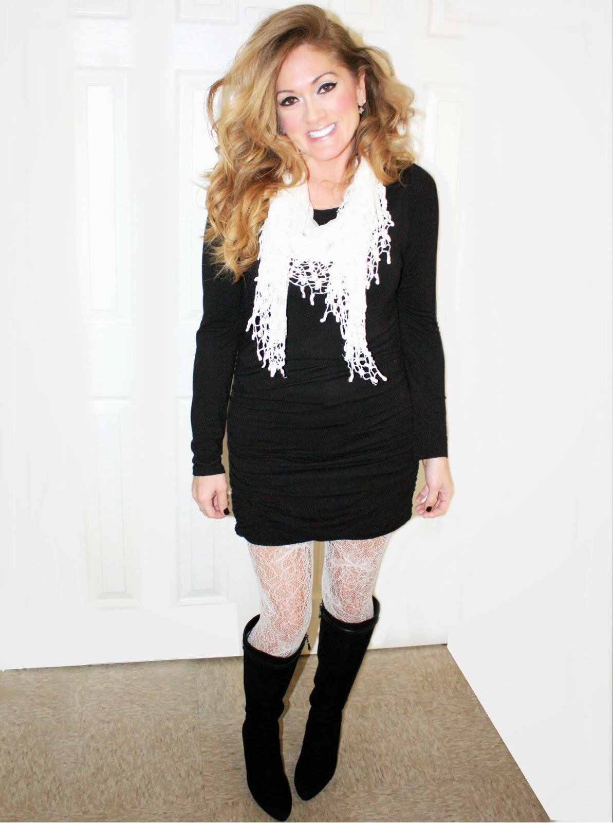 Black dress with lace tights