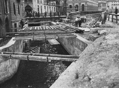 the canals of Milan's Cerchi dei Navigli around the old Medieval Walls were filled-in in the 19th century