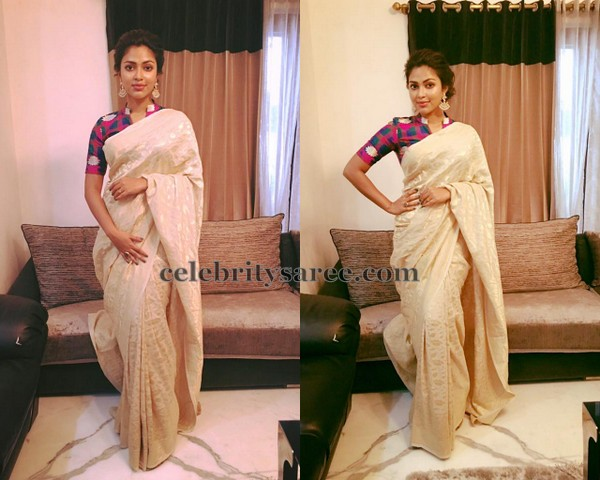 Amala Paul Off White Saree