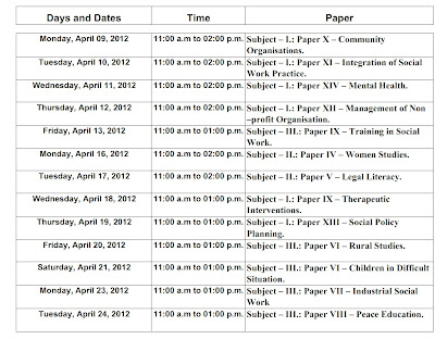 M.S.W. 2012 Exam Time table