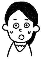 ■の表情のイラスト(驚き)白黒線画