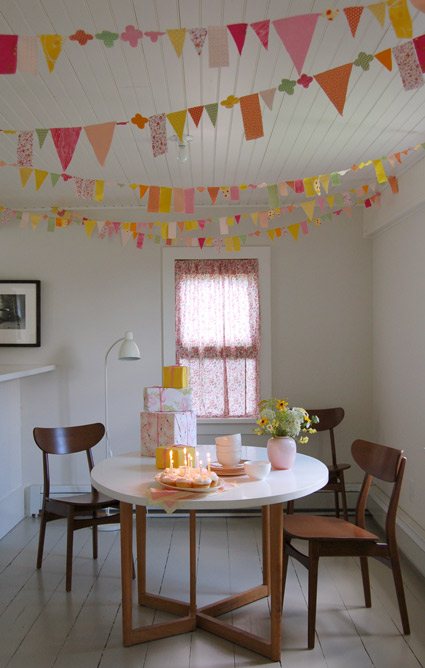 yellow orange pink bunting