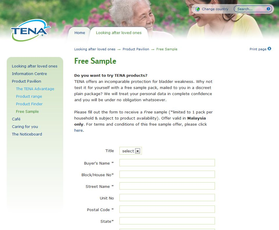 Free TENA Adult Diapers Sample. TENA offers an incomparable protection for