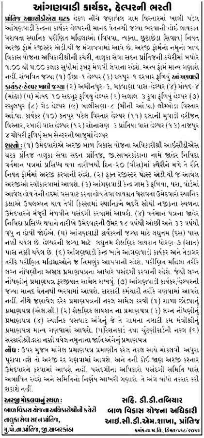 ICDS Prantij, Sabarkantha Recruitment 2016