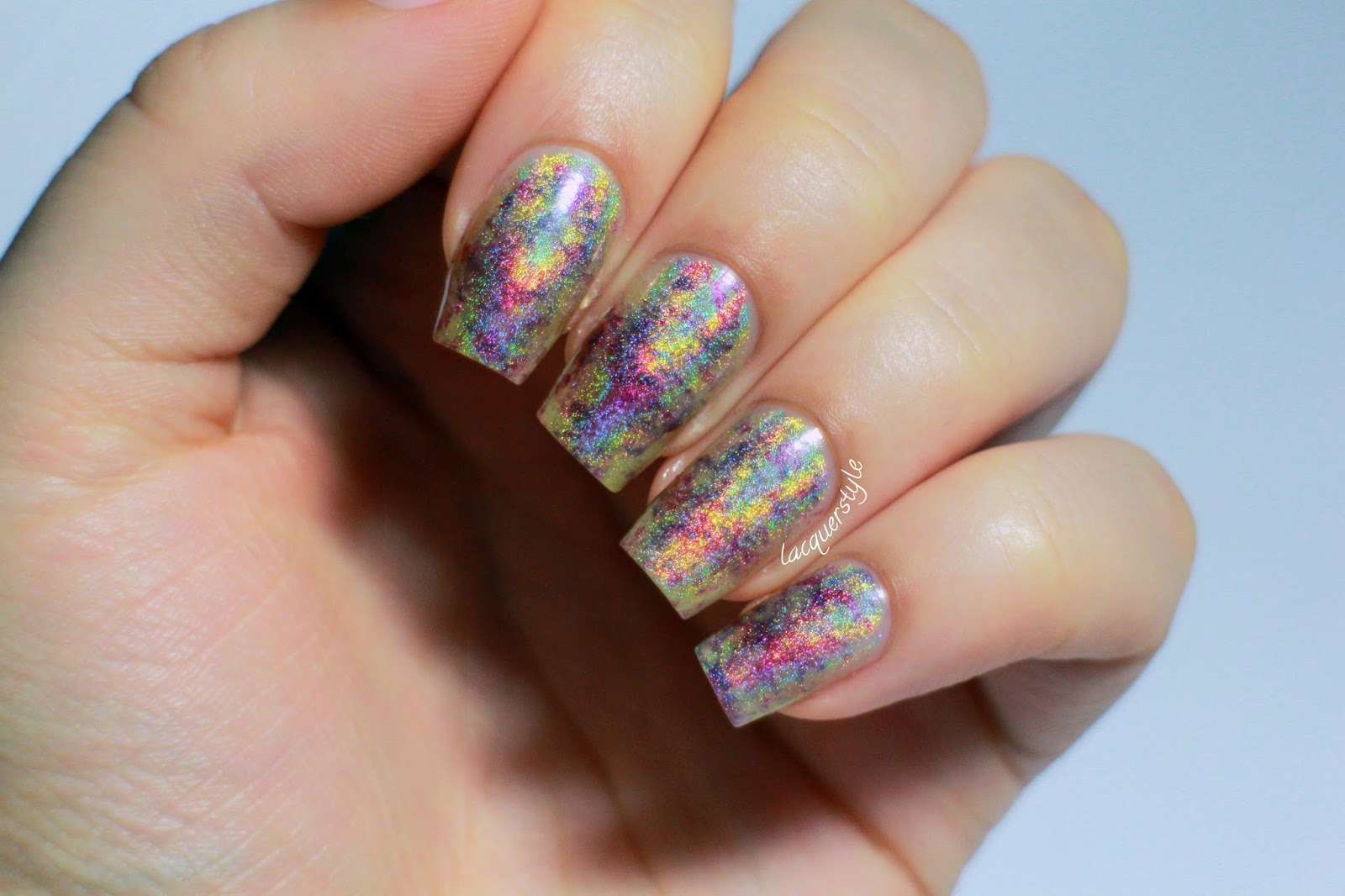 Lacquerstyle.com: Holographic Plastic Wrap Nail Art + Video & Tutorial!
