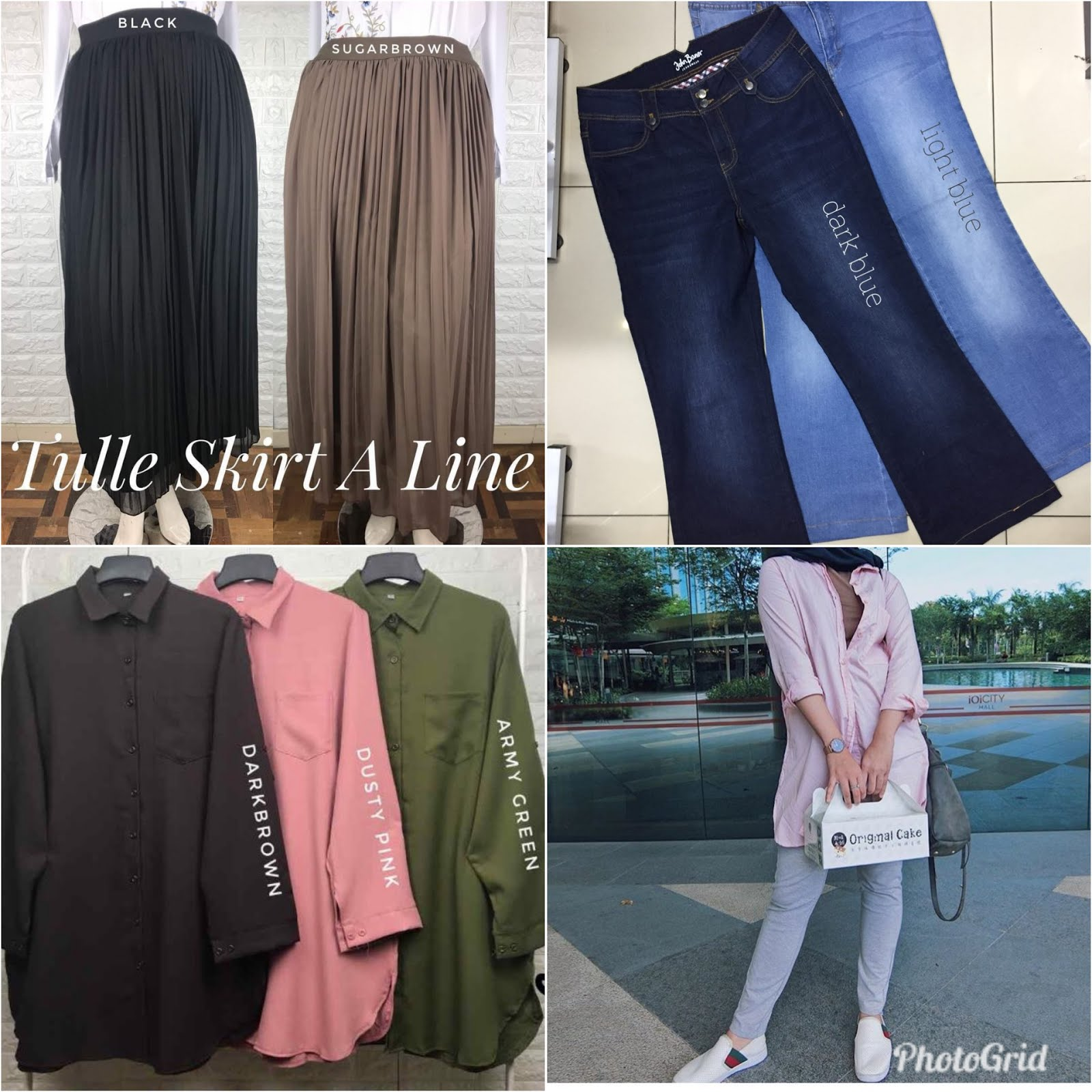 Pelbagai koleksi baju casual jeans, jacket, palazo, blouse, skirt tau