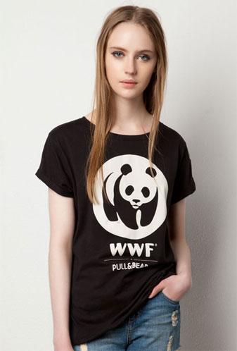 camiseta la Hora del Planeta mujer WWF y Pull and Bear