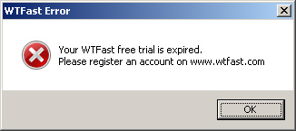 WTFast 30 Days Free Trial Expired