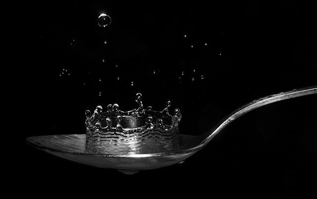 agua, gotas, cuchara, sopa