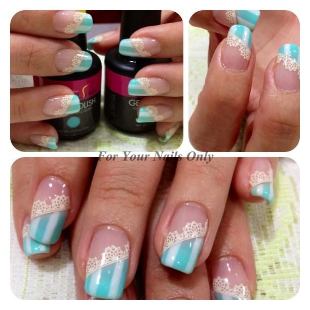 Tiffany Blue Nail Art: All About Nail Art: Stripe X Lace On Tiffany Blue