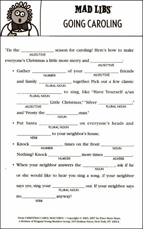 Search Results For Funny Christmas Mad Libs Printable