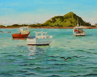 """Good Morning"" 8""x10"" oil on panel,Gessobord ©2014 Tina M Welter, Three boats in Island Bay, New Zealand."